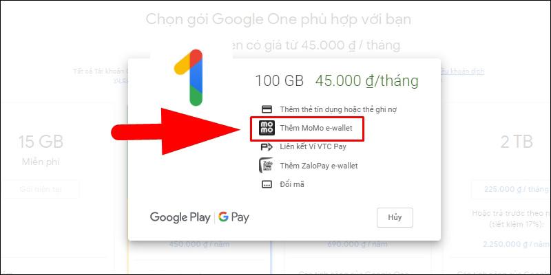 Chọn Thêm MoMo e-wallet
