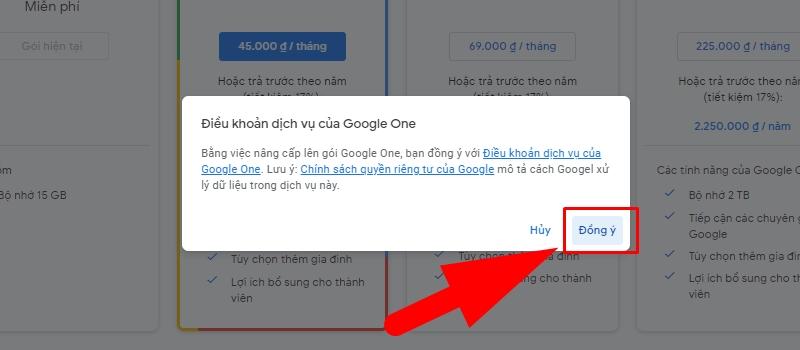 Nhấn Đồng ý với điều khoản của Google