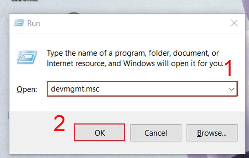 Nhập devmgmt.msc và ô Open để mở Device Manager