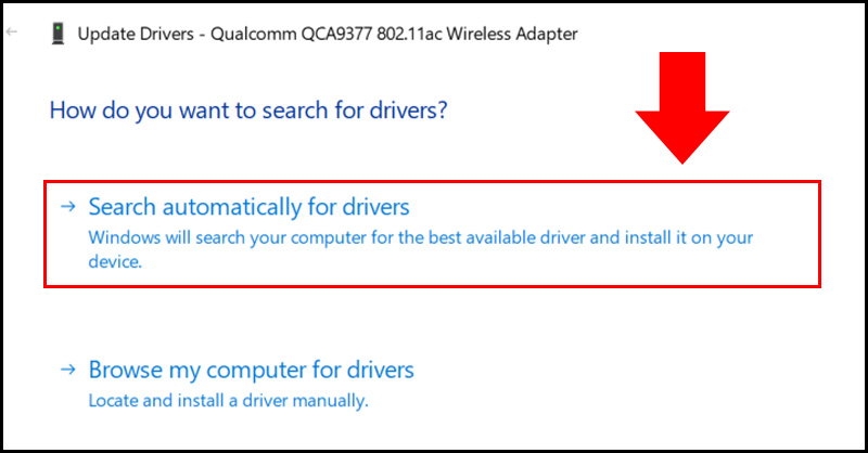 Click chọn Search automatically for drivers