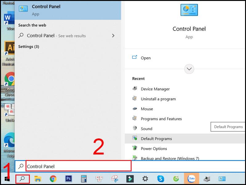 Tìm kiếm Control Panel