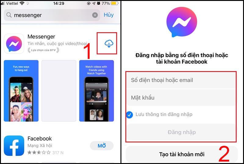 Tìm và cài đặt lại ứng dụng Messenger