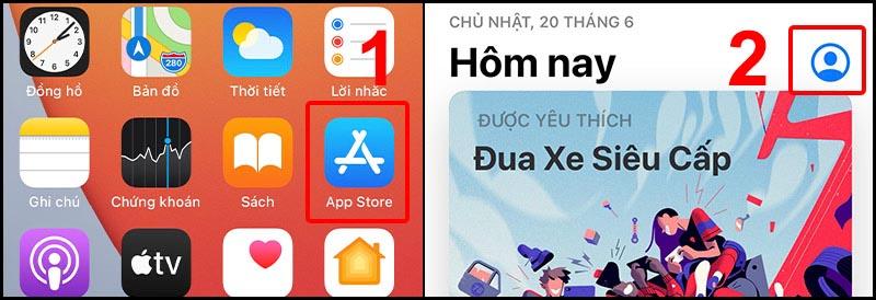 Vào App Store, chọn biểu tượng tài khoản của bạn.