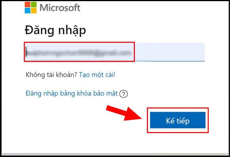 Đăng nhập vào website của Microsoft