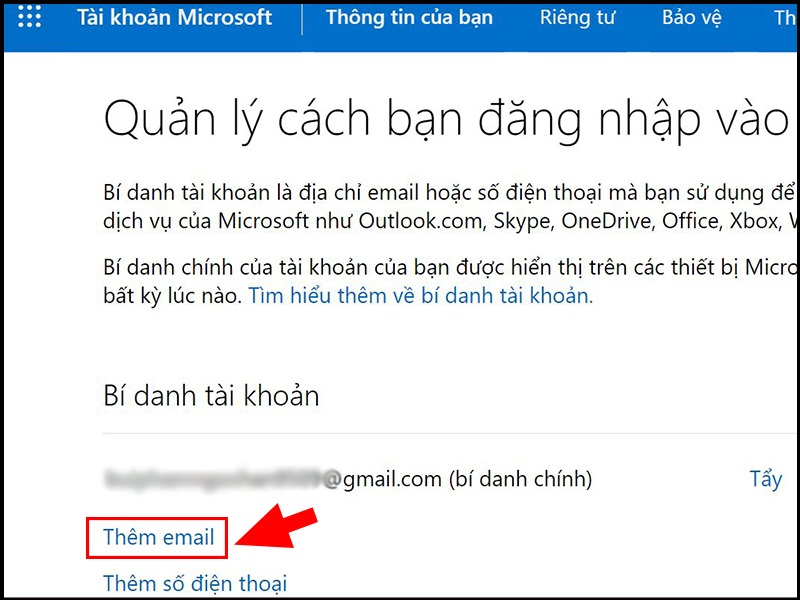 Thêm email của bạn vào tài khoản Microsoft