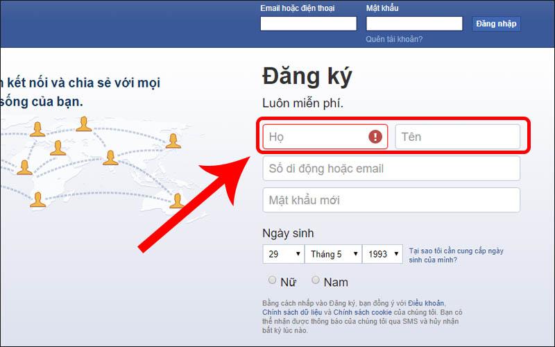 Đặt tên tài khoản đúng với điều khoản Facebook