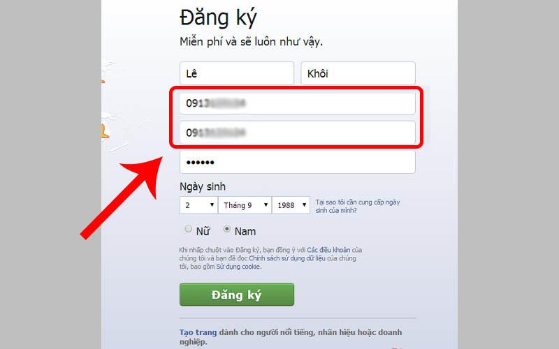 Dùng số điện thoại chưa được đăng ký cho tài khoản Facebook khác