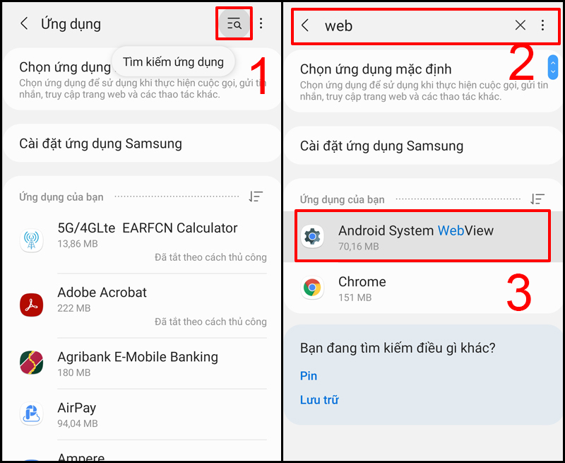 Tìm Android System Webview