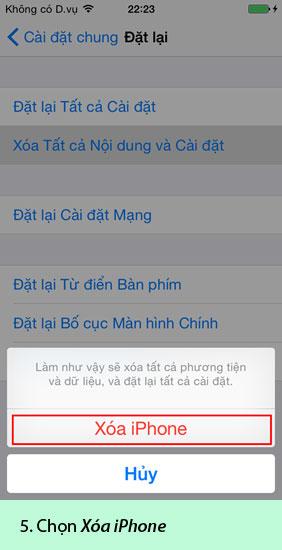 khôi phục cài đặt gốc trên iPhone