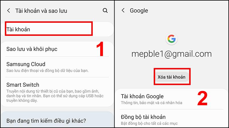 Xóa tài khoản Gmail hiện tại