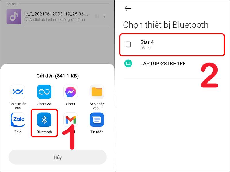 Chia sẻ bài hát qua Bluetooth