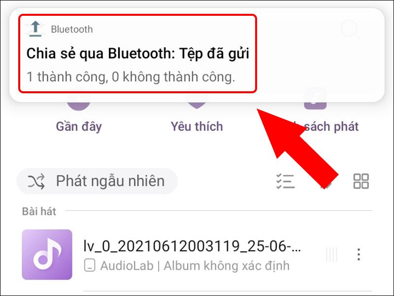 Chia sẻ file nhạc qua Bluetooth thành công