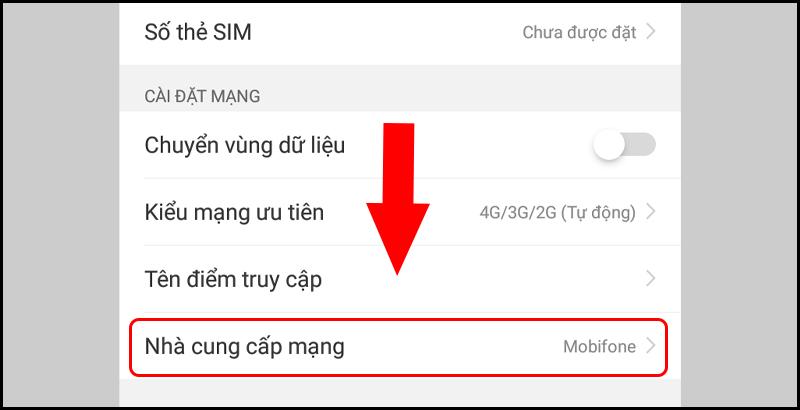Thông tin nhà mạng hiển thị