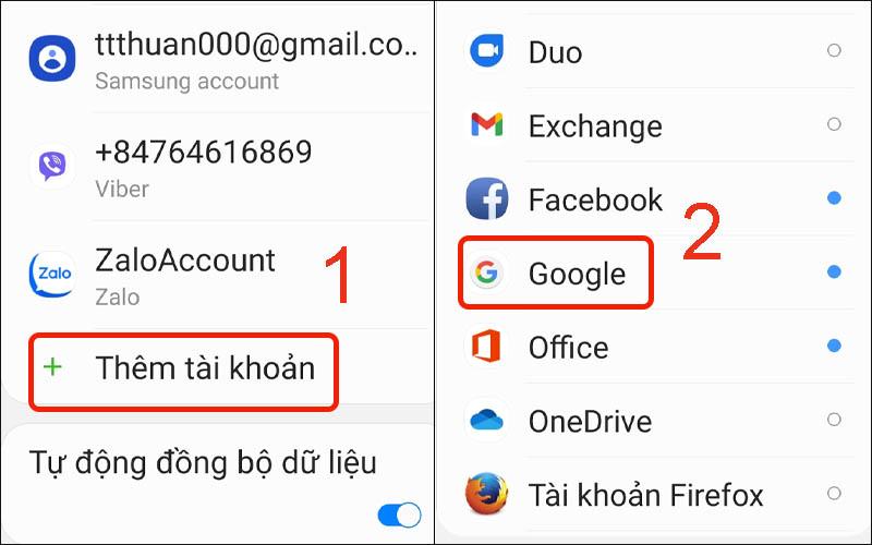 Thêm tài khoản Google