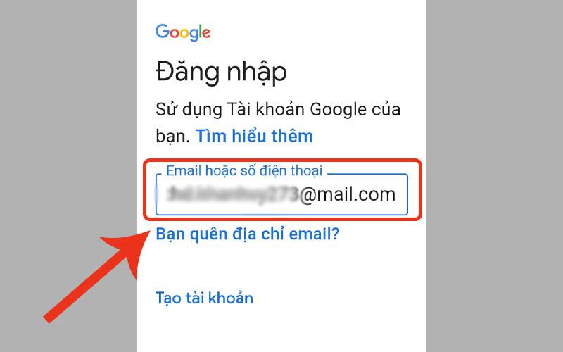 Đăng nhập email mà bạn muốn thêm vào