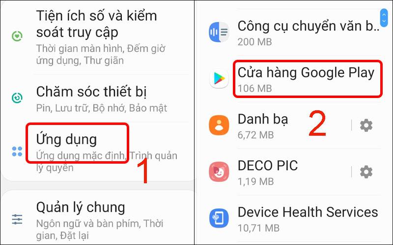 Vào phần cài đặt ứng dụng và chọn Cửa hàng Google Play