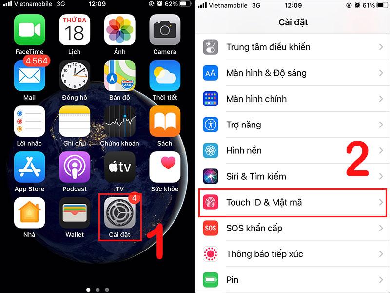 Vào Cài đặt (Settings) và chọn Touch ID & Mật mã (Touch ID & Passcode)
