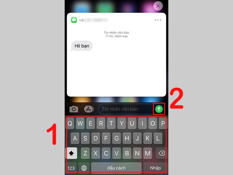 Nhập tin nhắn và nhấn chọn icon gửi tin nhắn