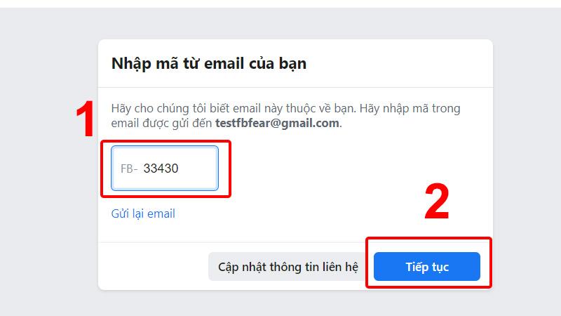 Nhập mã xác nhận được gửi về email của bạn