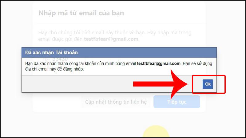 Chọn OK để xác nhận đăng ký Facebook