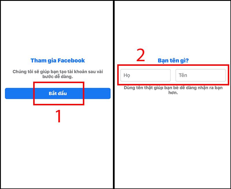 Bước 2: Tham gia Facebook và nhập họ tên