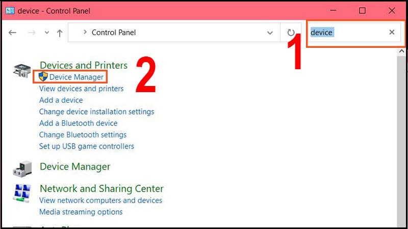 Tìm kiếm Device manager và chọn nó