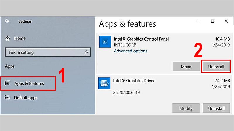 Khi đã tìm thấy ứng dụng Intel Graphics Control Panel > Nháy đúp chuột chọn Uninstall