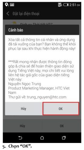 Khôi phục cài đặt gốc - Factory Reset HTC Desire