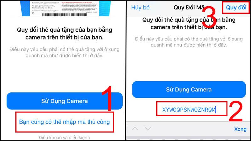 Ở đây bạn có thể quét mã QR qua Sử dụng Camera hoặc nhập mã ở Bạn cũng có thể nhập mã thủ công > Chọn Quy đổi.