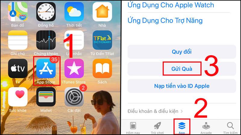 Vào ứng dụng App Store > Chọn App > Chọn Gửi quà.