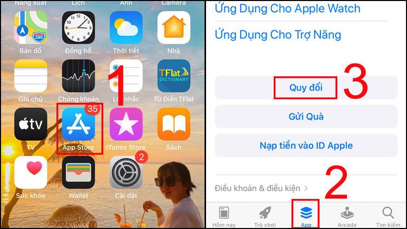 Vào ứng dụng App Store > Chọn App > Chọn Quy đổi.