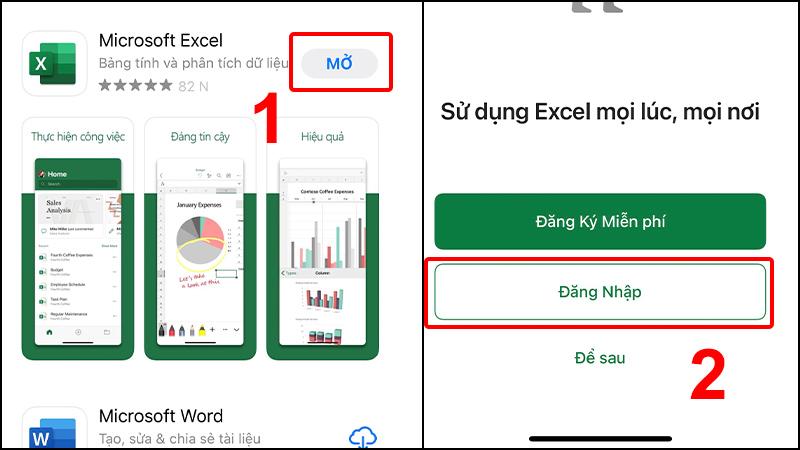 Mở ứng dụng Microsoft Excel và đăng nhập tài khoản Microsoft