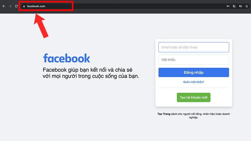 Truy cập website Facebook