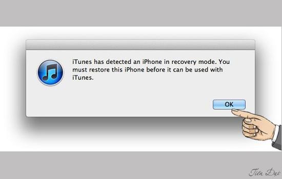 iTunes sẽ thông báo phát hiện thiết bị đang cần khôi phục