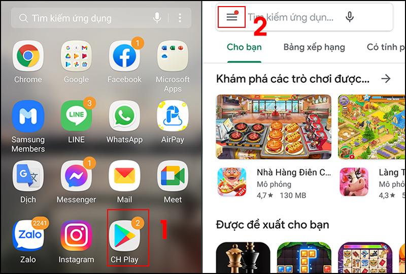 Bước 1: Mở cửa hàng Play > Mở menu ở góc trái.