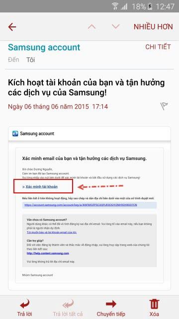 Tiếp đến bạn đăng nhập vào tài khoản thư email bạn đã đăng ký làm tài khoản Samsung
