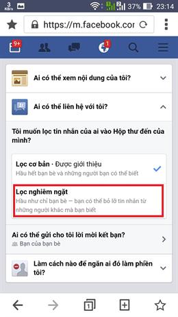 chặn tin nhắn spam trên facebook6