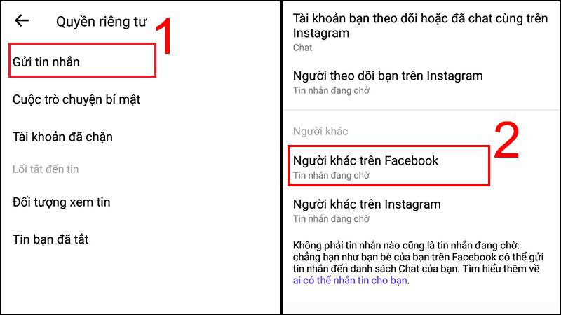 Chọn Gửi tin nhắn > Chọn Người khác trên Facebook.