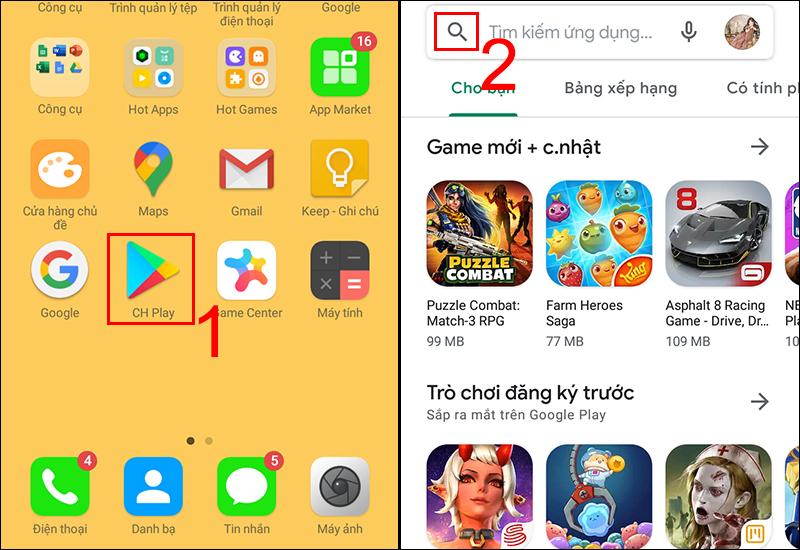 Mở ứng dụng CH Play và bấm vào biểu tượng kính lúp để tìm kiếm ứng dụng YouTube