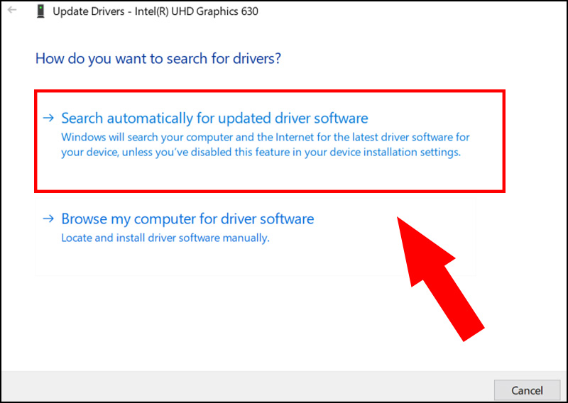 Chọn Search automatically for updated driver software