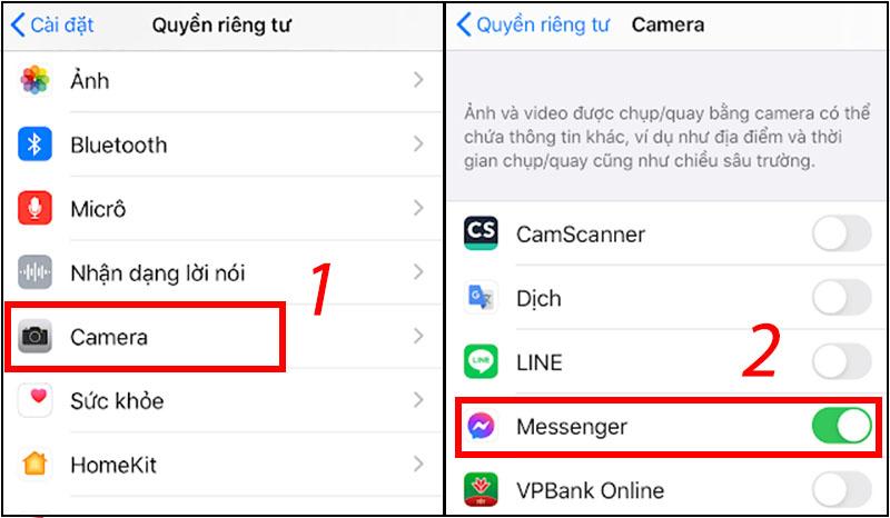 Kiểm tra, chuyển về chế độ cho phép Messenger truy cập camera