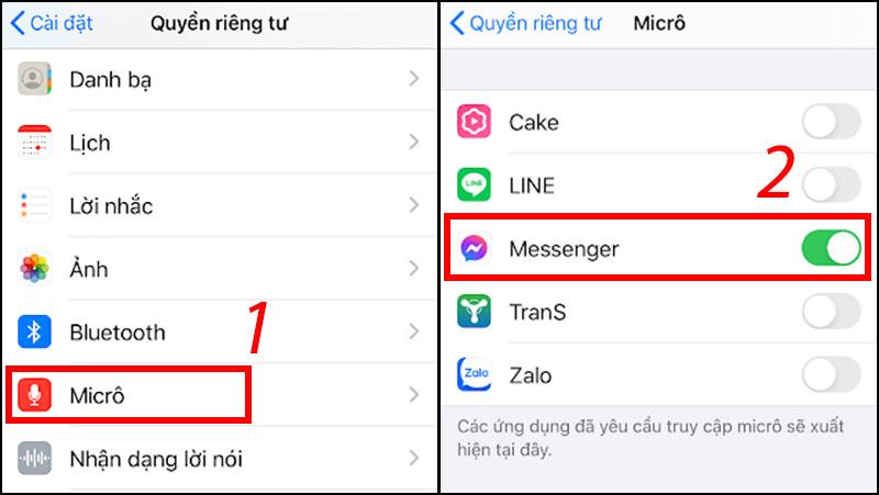 Kiểm tra, chuyển về chế độ cho phép Messenger truy cập micro