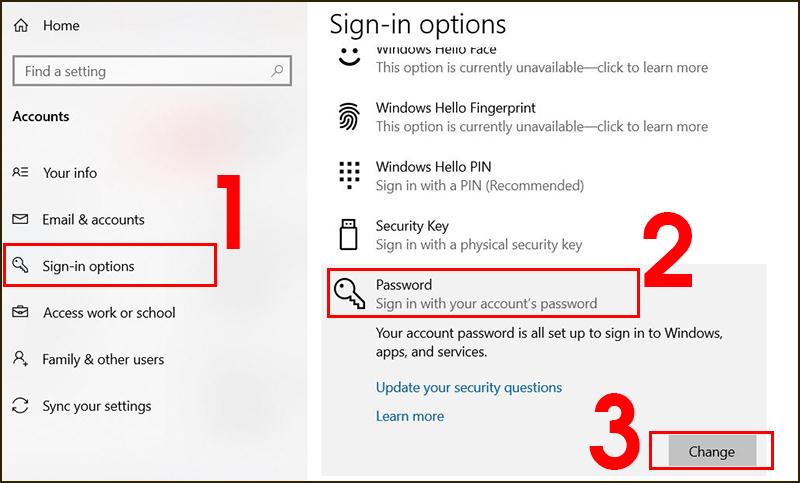 Thao tác cài mật khẩu