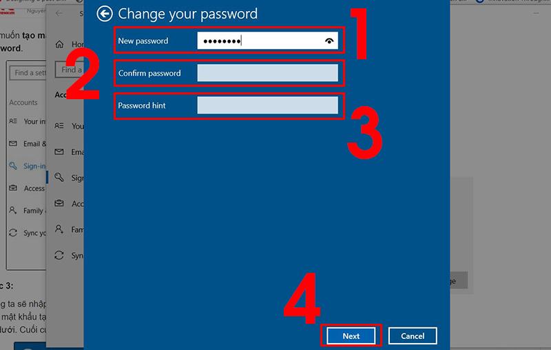 Nhập các thông tin mật khẩu