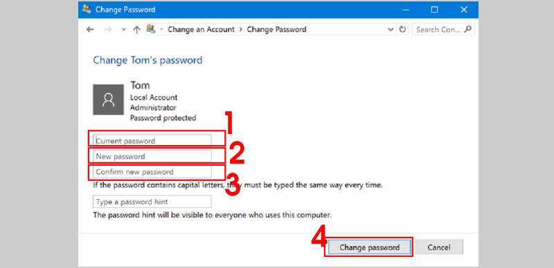 Tiến hành thay đổi mật khẩu