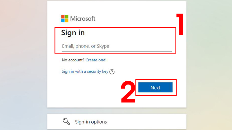 Nhập Tài khoản Microsoft rồi nhấn Next