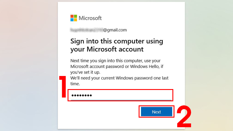 Nhập mật khẩu Microsoft