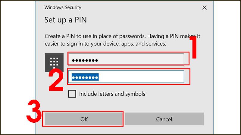 Thiết lập mã PIN cho máy tinh Windows 10