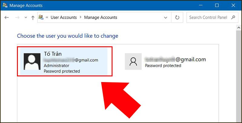 Chọn tài khoản người dùng mà bạn muốn thay đổi mật khẩu