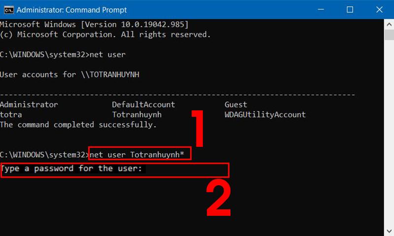 Nhập lệnh để thay đổi mật khẩu mới